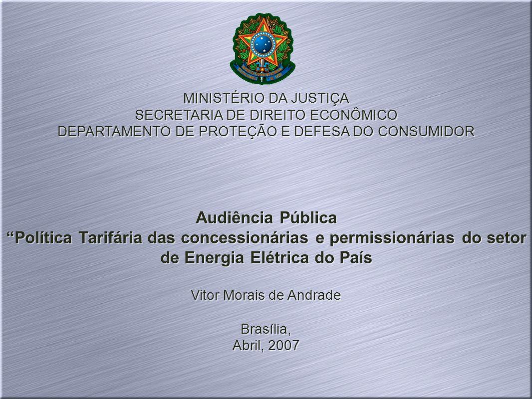 MINISTÉRIO DA JUSTIÇA SECRETARIA DE DIREITO ECONÔMICO DEPARTAMENTO DE PROTEÇÃO E DEFESA DO CONSUMIDOR Audiência Pública Política Tarifária das concess