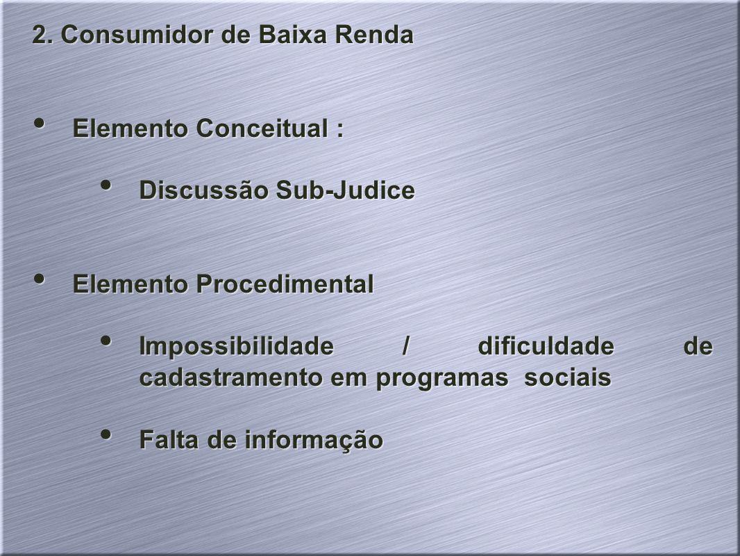 2. Consumidor de Baixa Renda Elemento Conceitual : Discussão Sub-Judice Elemento Procedimental Impossibilidade / dificuldade de cadastramento em progr