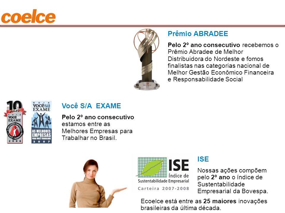 Prêmio ABRADEE Pelo 2º ano consecutivo recebemos o Prêmio Abradee de Melhor Distribuidora do Nordeste e fomos finalistas nas categorias nacional de Me