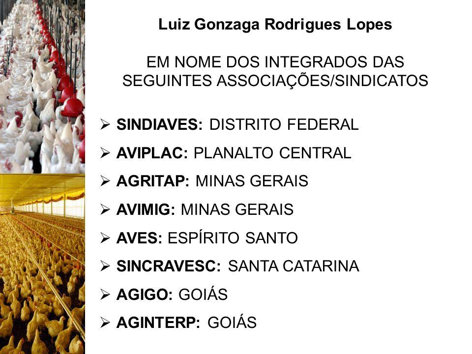 Luiz Gonzaga Rodrigues Lopes EM NOME DOS INTEGRADOS DAS SEGUINTES ASSOCIAÇÕES/SINDICATOS SINDIAVES: DISTRITO FEDERAL AVIPLAC: PLANALTO CENTRAL AGRITAP