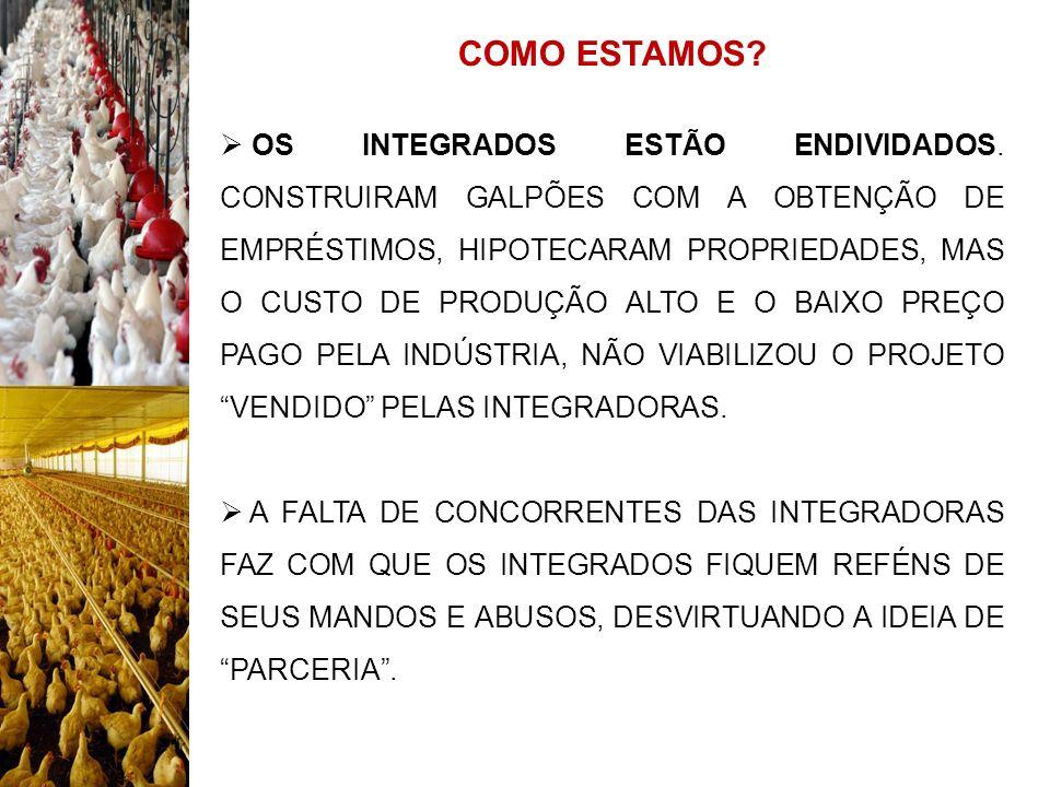 COMO ESTAMOS.O SISTEMA DE PARCERIA (INTEGRAÇÃO) ESTÁ FALIDO NO BRASIL.