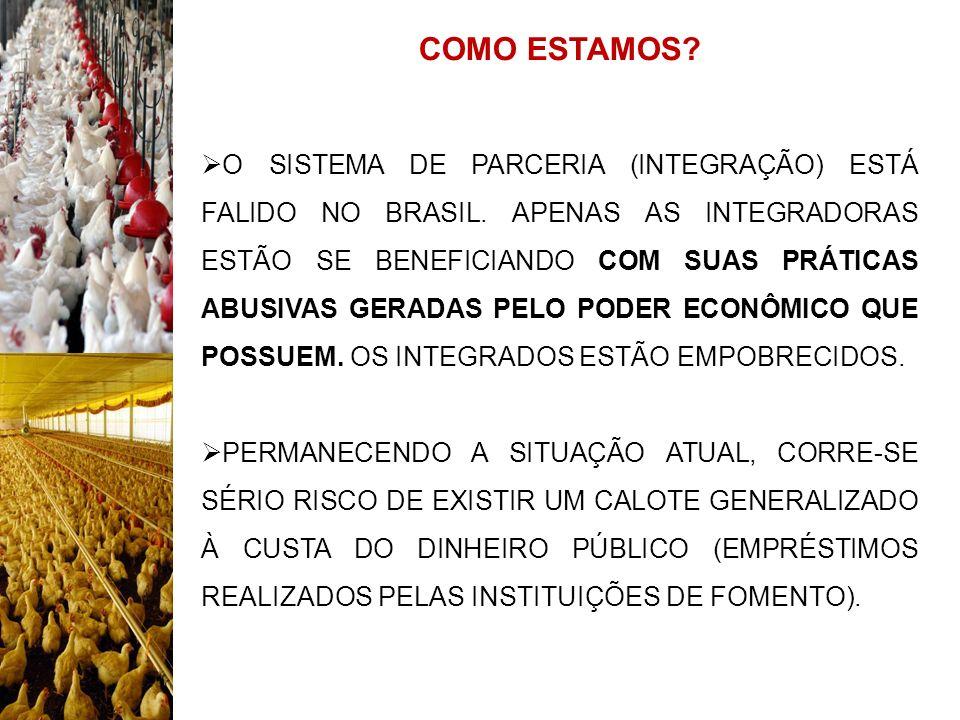 COMO ESTAMOS? O SISTEMA DE PARCERIA (INTEGRAÇÃO) ESTÁ FALIDO NO BRASIL. APENAS AS INTEGRADORAS ESTÃO SE BENEFICIANDO COM SUAS PRÁTICAS ABUSIVAS GERADA