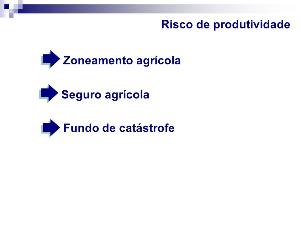 Risco de preços Mercado futuro Leilões de prêmios (garantia de preços) Opções Operações de mercado de troca de insumos e produto
