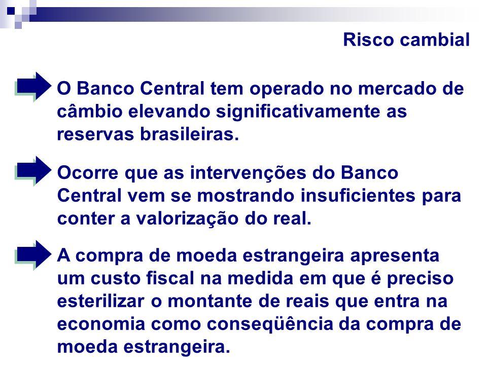 Risco cambial O problema é que a taxa de juro brasileira é extremamente elevada e, como conseqüência, torna elevado o custo fiscal da compra de reservas.