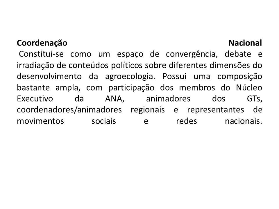 Coordenação Nacional Constitui-se como um espaço de convergência, debate e irradiação de conteúdos políticos sobre diferentes dimensões do desenvolvim