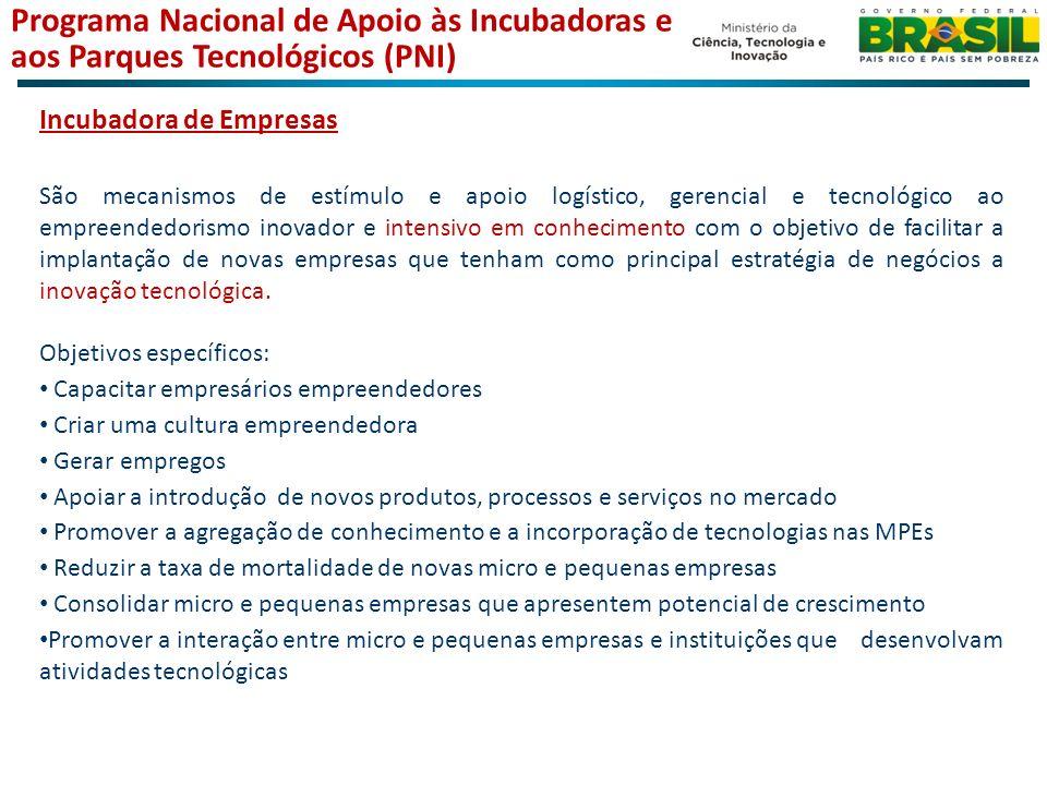 Incubadora de Empresas São mecanismos de estímulo e apoio logístico, gerencial e tecnológico ao empreendedorismo inovador e intensivo em conhecimento