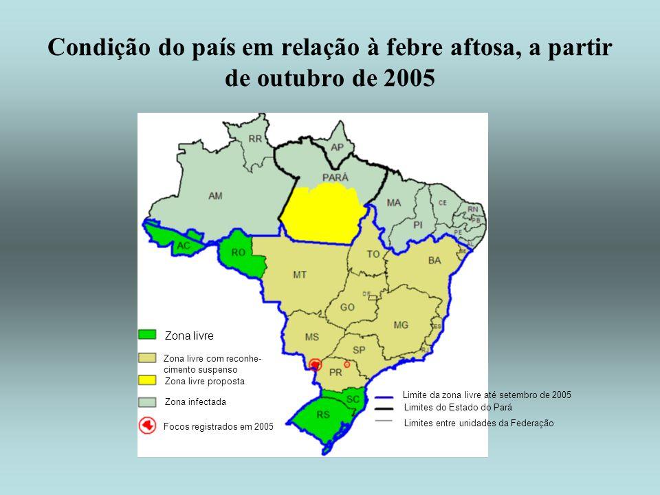 Condição do país em relação à febre aftosa, a partir de outubro de 2005 Zona livre Zona livre com reconhe- cimento suspenso Zona livre proposta Zona i