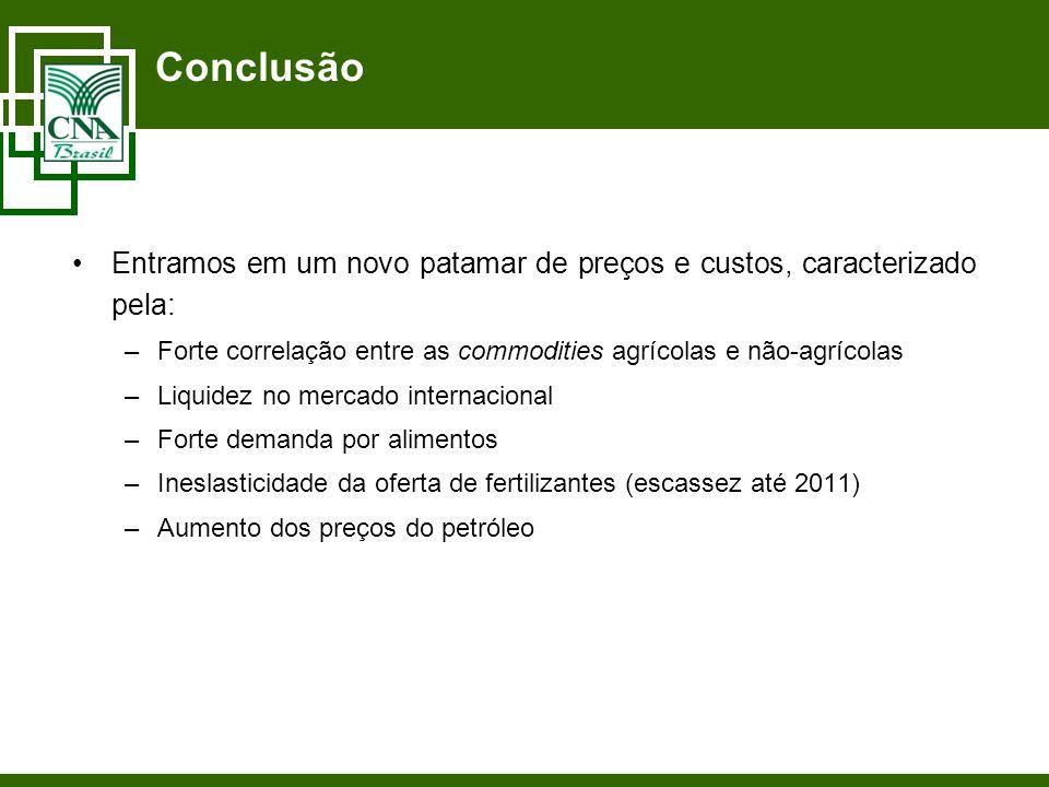 Conclusão Entramos em um novo patamar de preços e custos, caracterizado pela: –Forte correlação entre as commodities agrícolas e não-agrícolas –Liquid