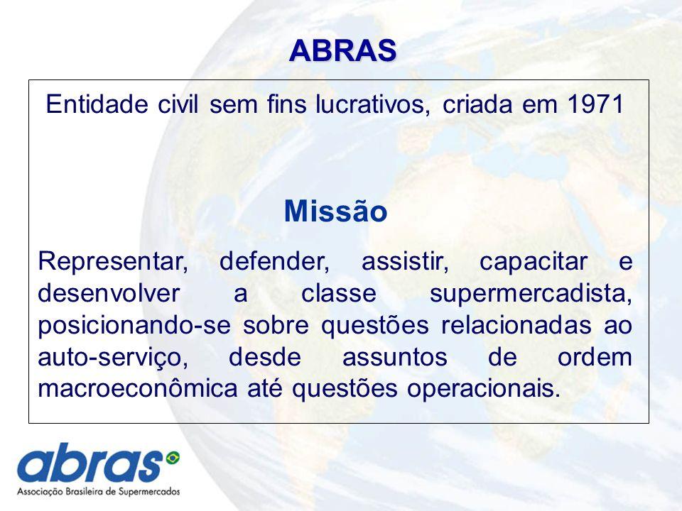 ABRAS Entidade civil sem fins lucrativos, criada em 1971 Missão Representar, defender, assistir, capacitar e desenvolver a classe supermercadista, posicionando-se sobre questões relacionadas ao auto-serviço, desde assuntos de ordem macroeconômica até questões operacionais.