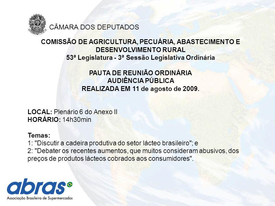 COMISSÃO DE AGRICULTURA, PECUÁRIA, ABASTECIMENTO E DESENVOLVIMENTO RURAL 53ª Legislatura - 3ª Sessão Legislativa Ordinária PAUTA DE REUNIÃO ORDINÁRIA AUDIÊNCIA PÚBLICA REALIZADA EM 11 de agosto de 2009.
