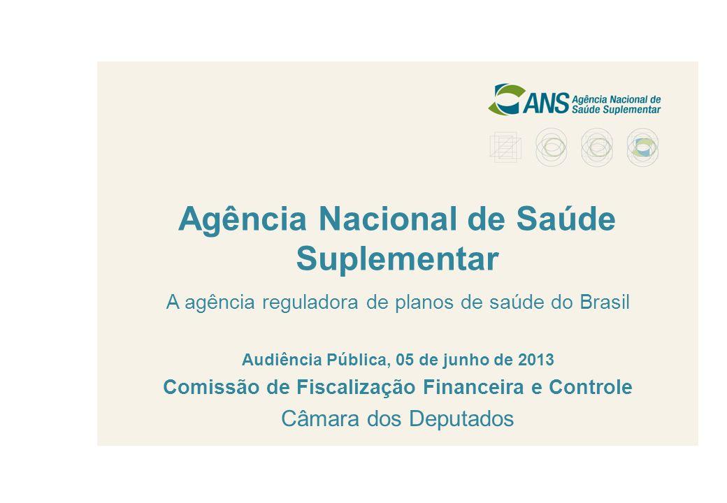 1 Agência Nacional de Saúde Suplementar A agência reguladora de planos de saúde do Brasil Audiência Pública, 05 de junho de 2013 Comissão de Fiscaliza