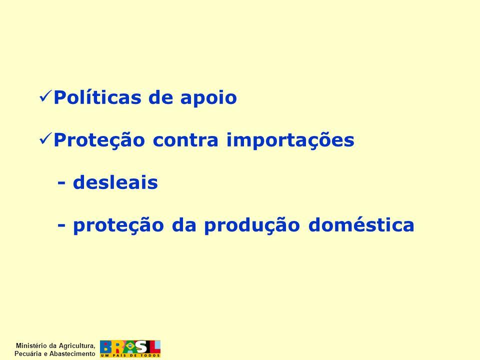 Ministério da Agricultura, Pecuária e Abastecimento Políticas de apoio Proteção contra importações - desleais - proteção da produção doméstica