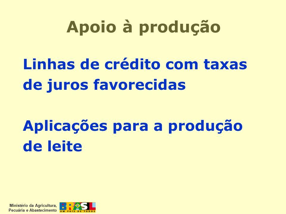 Ministério da Agricultura, Pecuária e Abastecimento Linhas de crédito com taxas de juros favorecidas Aplicações para a produção de leite Apoio à produ