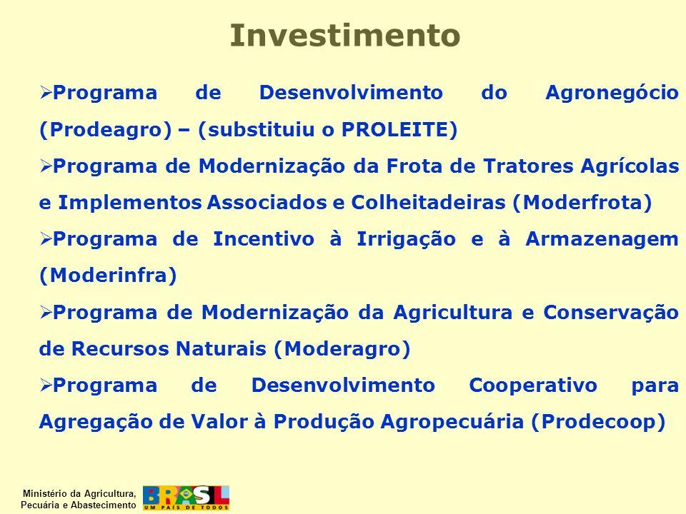Ministério da Agricultura, Pecuária e Abastecimento Investimento Programa de Desenvolvimento da Fruticultura (Prodefruta) Financia a implantação ou me