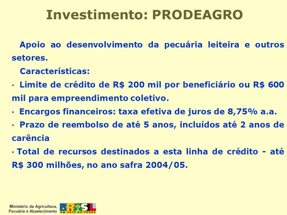 Ministério da Agricultura, Pecuária e Abastecimento Apoio ao desenvolvimento da pecuária leiteira e outros setores. Características: · Limite de crédi