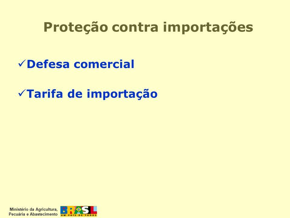 Ministério da Agricultura, Pecuária e Abastecimento Proteção contra importações Defesa comercial Tarifa de importação
