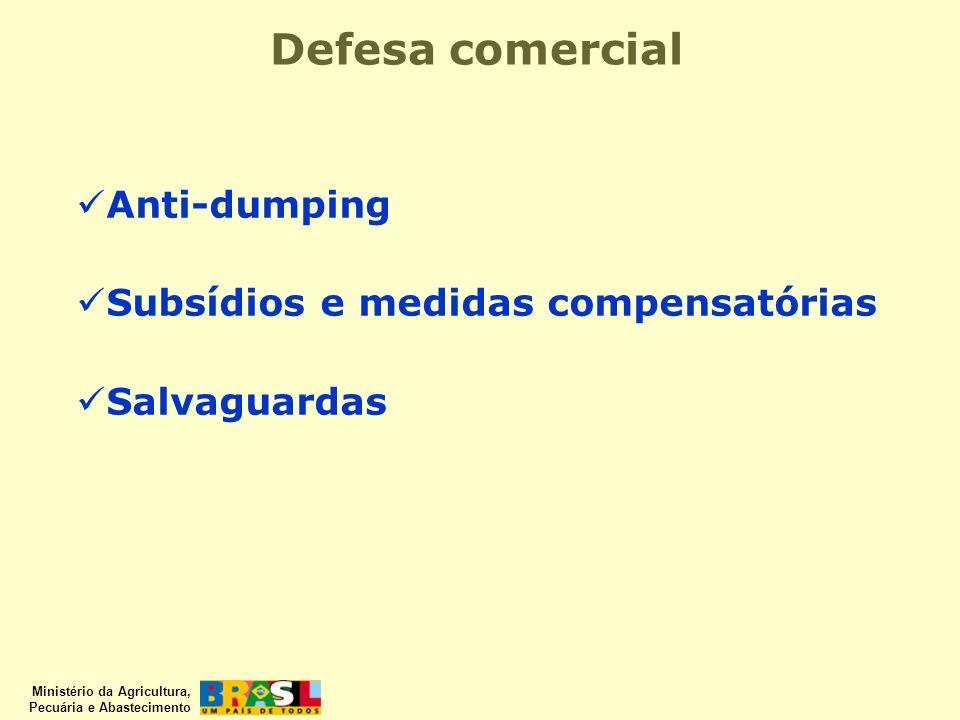 Ministério da Agricultura, Pecuária e Abastecimento Defesa comercial Anti-dumping Subsídios e medidas compensatórias Salvaguardas