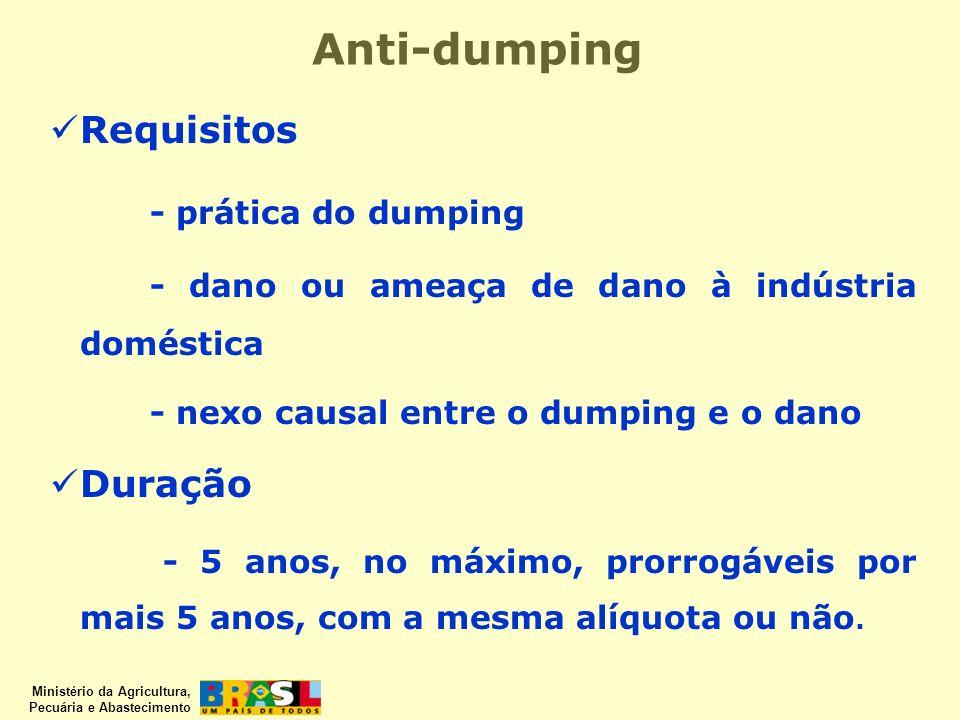 Ministério da Agricultura, Pecuária e Abastecimento Anti-dumping Requisitos - prática do dumping - dano ou ameaça de dano à indústria doméstica - nexo