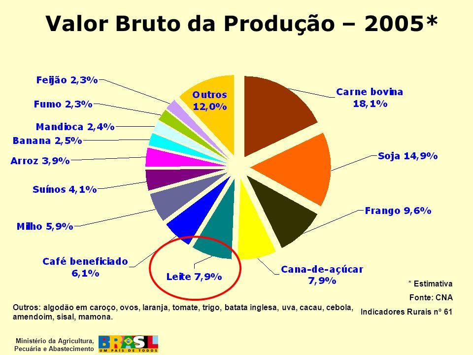 Ministério da Agricultura, Pecuária e Abastecimento Valor Bruto da Produção – 2005* Outros: algodão em caroço, ovos, laranja, tomate, trigo, batata in