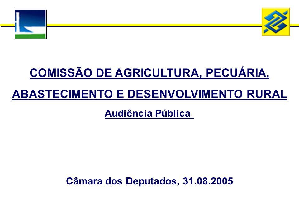 COMISSÃO DE AGRICULTURA, PECUÁRIA, ABASTECIMENTO E DESENVOLVIMENTO RURAL Audiência Pública Câmara dos Deputados, 31.08.2005