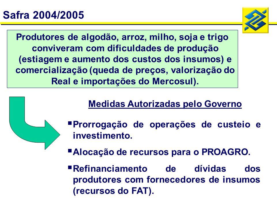 Safra 2004/2005 - Ações do BB Proagro: Contratação temporária de pessoal para agilizar análises do PROAGRO.
