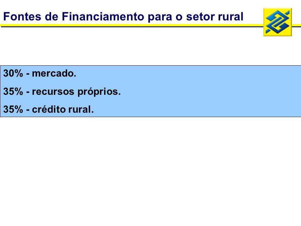 Fontes de Financiamento para o setor rural 35% - crédito rural