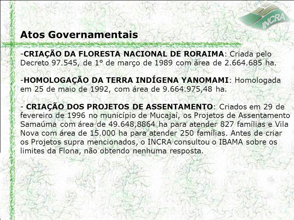 Atos Governamentais -CRIAÇÃO DA FLORESTA NACIONAL DE RORAIMA: Criada pelo Decreto 97.545, de 1° de março de 1989 com área de 2.664.685 ha. -HOMOLOGAÇÃ