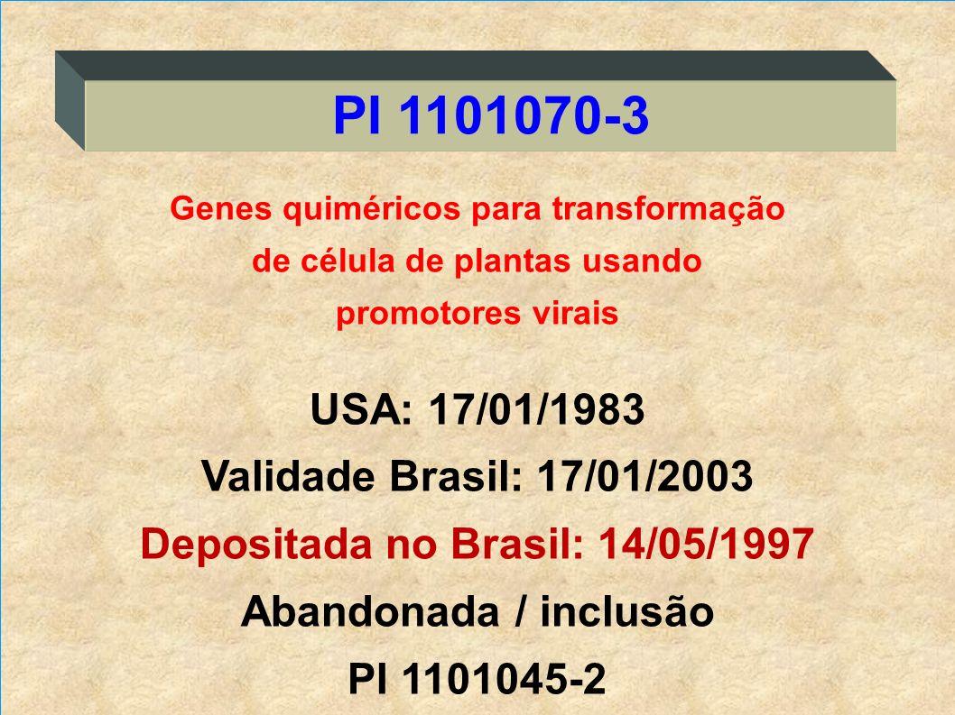 Genes quiméricos para transformação de célula de plantas usando promotores virais USA: 17/01/1983 Validade Brasil: 17/01/2003 Depositada no Brasil: 14
