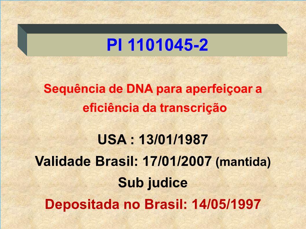 Sequência de DNA para aperfeiçoar a eficiência da transcrição USA : 13/01/1987 Validade Brasil: 17/01/2007 (mantida) Sub judice Depositada no Brasil: