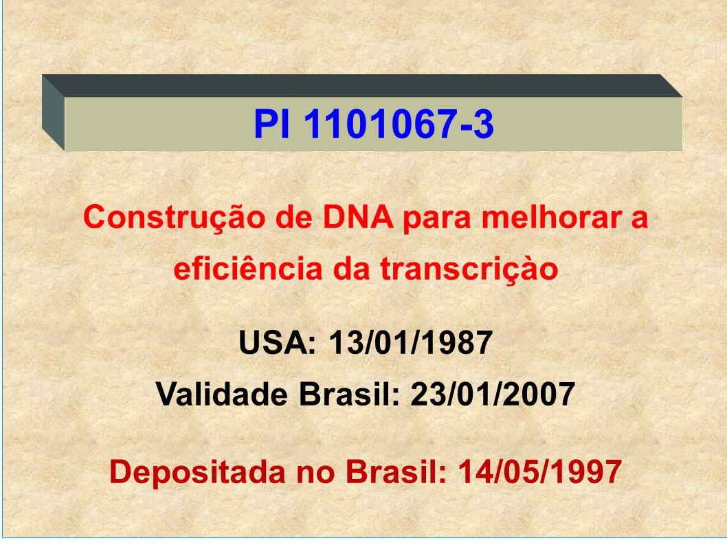 Construção de DNA para melhorar a eficiência da transcriçào USA: 13/01/1987 Validade Brasil: 23/01/2007 Depositada no Brasil: 14/05/1997 PI 1101067-3