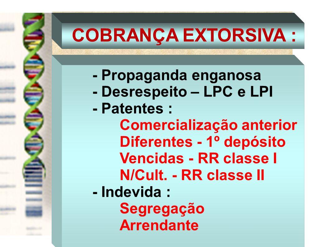 COBRANÇA EXTORSIVA : - Propaganda enganosa - Desrespeito – LPC e LPI - Patentes : Comercialização anterior Diferentes - 1º depósito Vencidas - RR clas