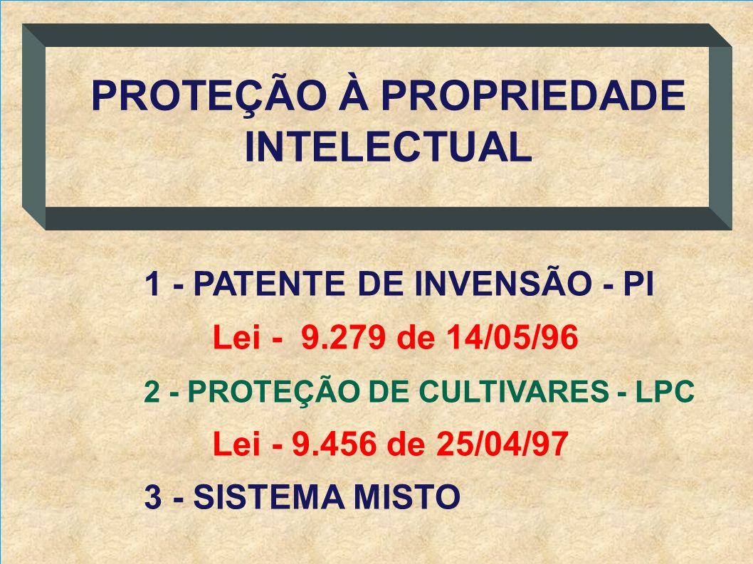 1 - PATENTE DE INVENSÃO - PI Lei - 9.279 de 14/05/96 2 - PROTEÇÃO DE CULTIVARES - LPC Lei - 9.456 de 25/04/97 3 - SISTEMA MISTO PROTEÇÃO À PROPRIEDADE