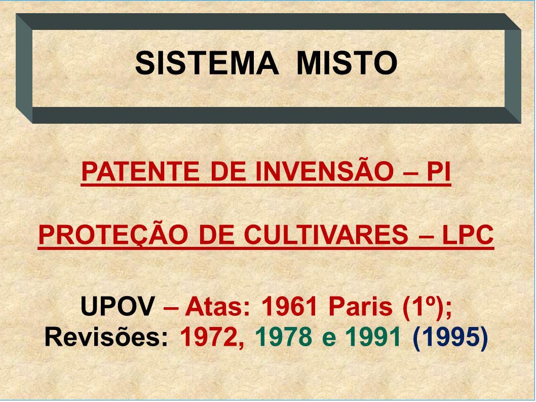 SISTEMA MISTO PATENTE DE INVENSÃO – PI PROTEÇÃO DE CULTIVARES – LPC UPOV – Atas: 1961 Paris (1º); Revisões: 1972, 1978 e 1991 (1995)