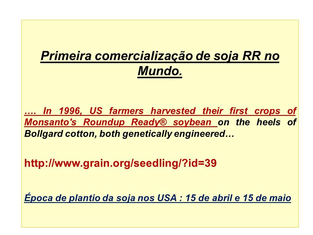 SOJA Estado Área Plantada Hectares % Compra Sementes % Soja Transgênica Soja Convencional Hectares RS4.100.000359882.000 SC360.000608072.000 PR4.400.00050651.540.000