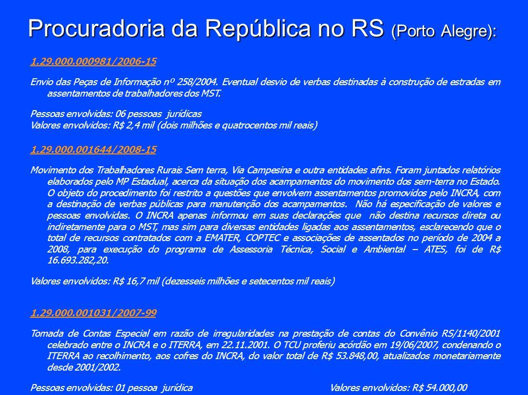 Procuradoria da República no RS (Porto Alegre): 1.29.000.000981/2006-15 Envio das Peças de Informação nº 258/2004. Eventual desvio de verbas destinada