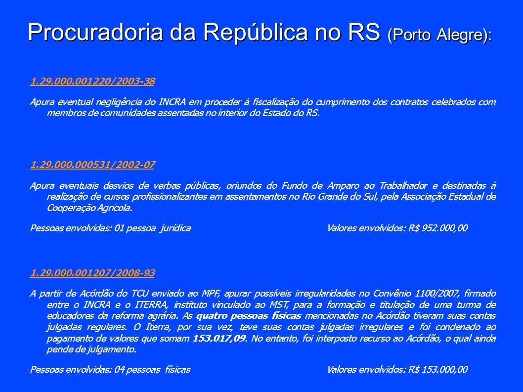 Procuradoria da República no RS (Porto Alegre): 1.29.000.001220/2003-38 Apura eventual negligência do INCRA em proceder à fiscalização do cumprimento