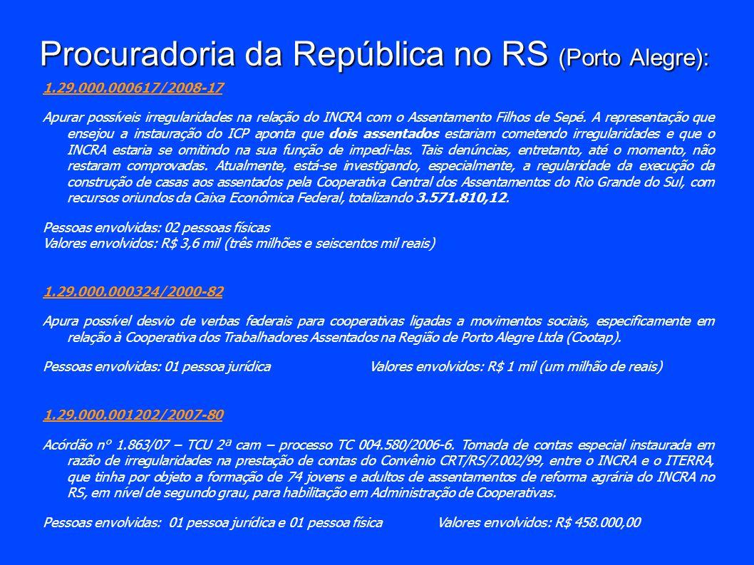 Procuradoria da República no RS (Porto Alegre): 1.29.000.000617/2008-17 Apurar possíveis irregularidades na relação do INCRA com o Assentamento Filhos