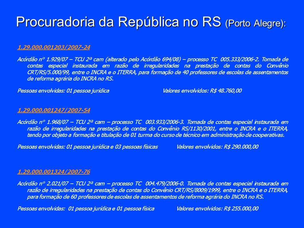 Procuradoria da República no RS (Porto Alegre): 1.29.000.001203/2007-24 Acórdão n° 1.929/07 – TCU 2ª cam (alterado pelo Acórdão 694/08) – processo TC