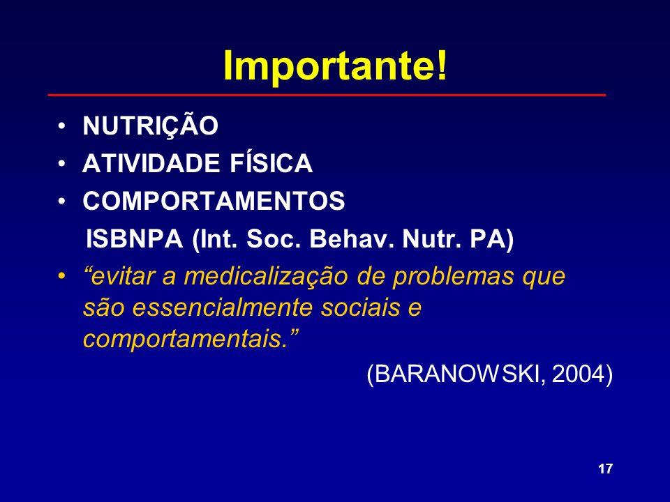 17 Importante! NUTRIÇÃO ATIVIDADE FÍSICA COMPORTAMENTOS ISBNPA (Int. Soc. Behav. Nutr. PA) evitar a medicalização de problemas que são essencialmente