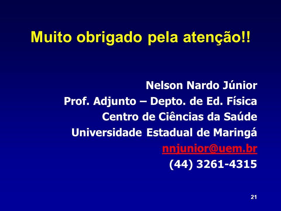 21 Muito obrigado pela atenção!! Nelson Nardo Júnior Prof. Adjunto – Depto. de Ed. Física Centro de Ciências da Saúde Universidade Estadual de Maringá