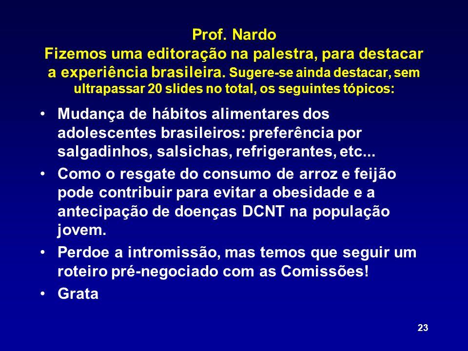 23 Prof. Nardo Fizemos uma editoração na palestra, para destacar a experiência brasileira. Sugere-se ainda destacar, sem ultrapassar 20 slides no tota