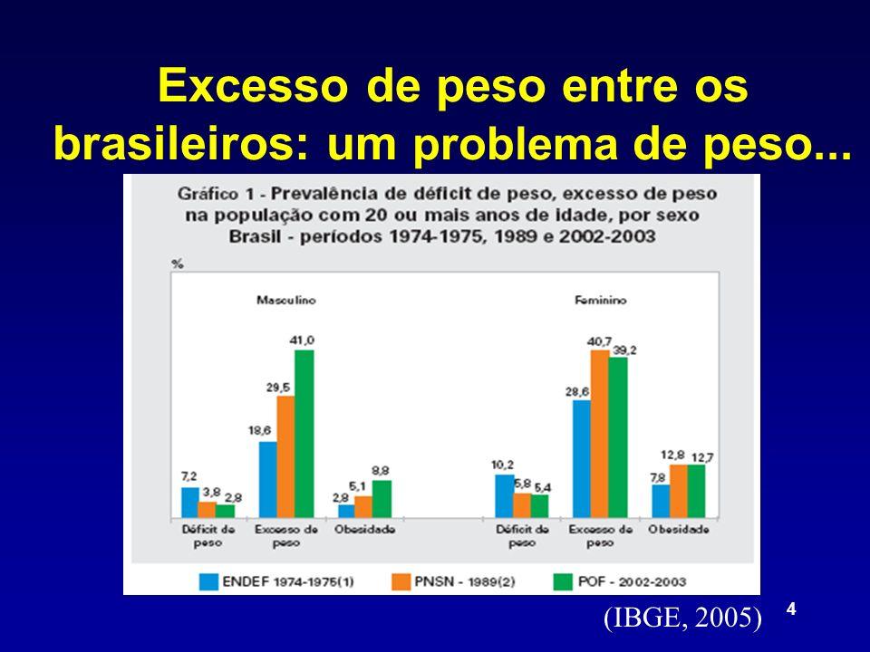 4 Excesso de peso entre os brasileiros: um problema de peso... (IBGE, 2005)