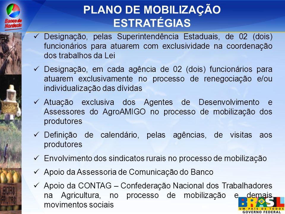 PLANO DE MOBILIZAÇÃO ESTRATÉGIAS Designação, pelas Superintendência Estaduais, de 02 (dois) funcionários para atuarem com exclusividade na coordenação