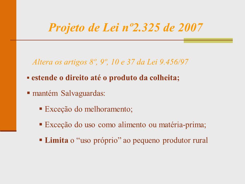 Projeto de Lei nº2.325 de 2007 estende o direito até o produto da colheita; mantém Salvaguardas: Exceção do melhoramento; Exceção do uso como alimento
