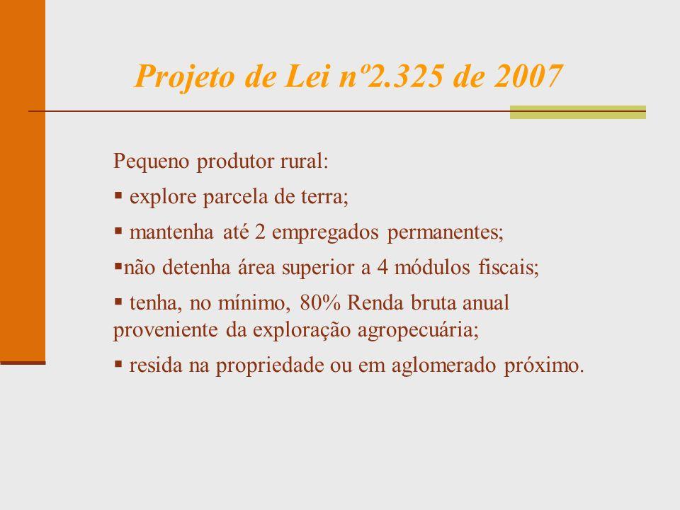 Projeto de Lei nº2.325 de 2007 Pequeno produtor rural: explore parcela de terra; mantenha até 2 empregados permanentes; não detenha área superior a 4
