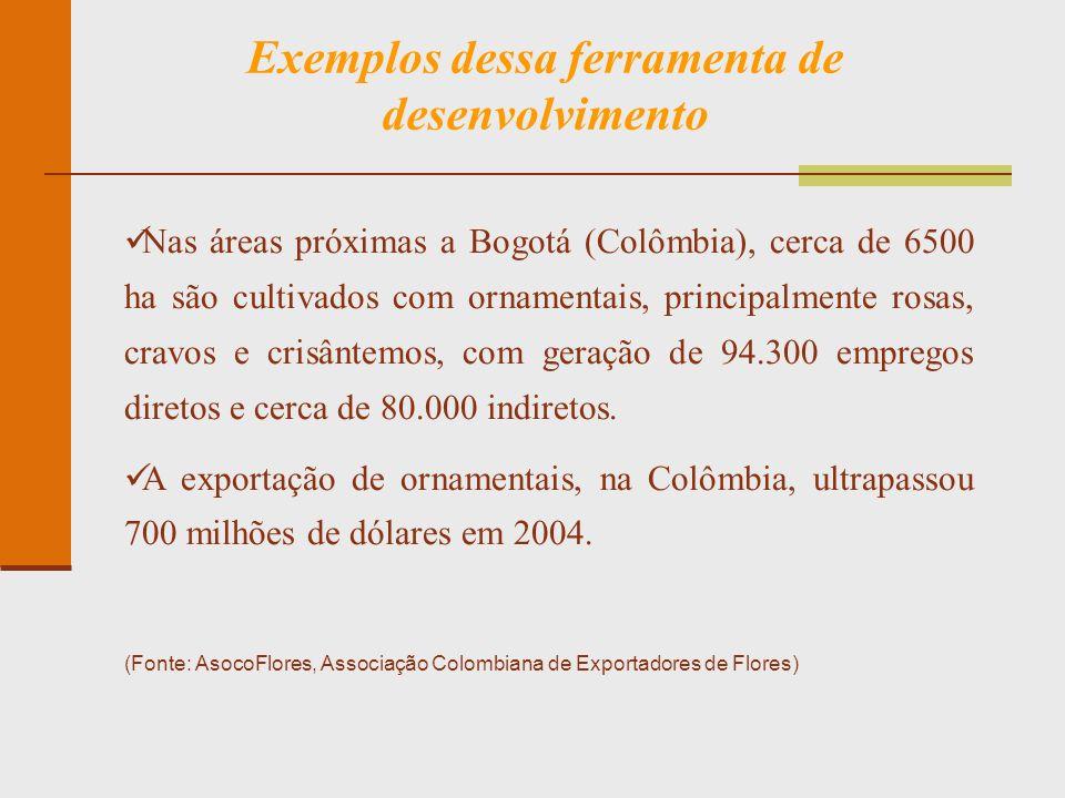 Exemplos dessa ferramenta de desenvolvimento Nas áreas próximas a Bogotá (Colômbia), cerca de 6500 ha são cultivados com ornamentais, principalmente r