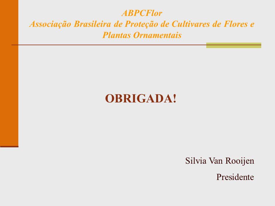 ABPCFlor Associação Brasileira de Proteção de Cultivares de Flores e Plantas Ornamentais OBRIGADA! Silvia Van Rooijen Presidente