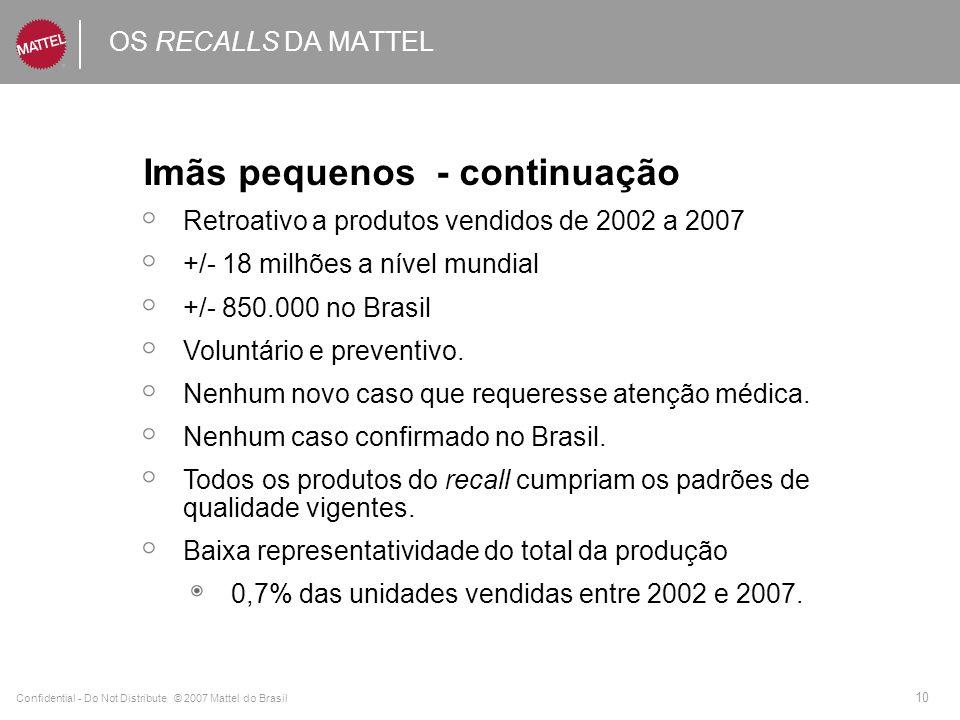 Confidential - Do Not Distribute © 2007 Mattel do Brasil 10 OS RECALLS DA MATTEL Imãs pequenos - continuação Retroativo a produtos vendidos de 2002 a