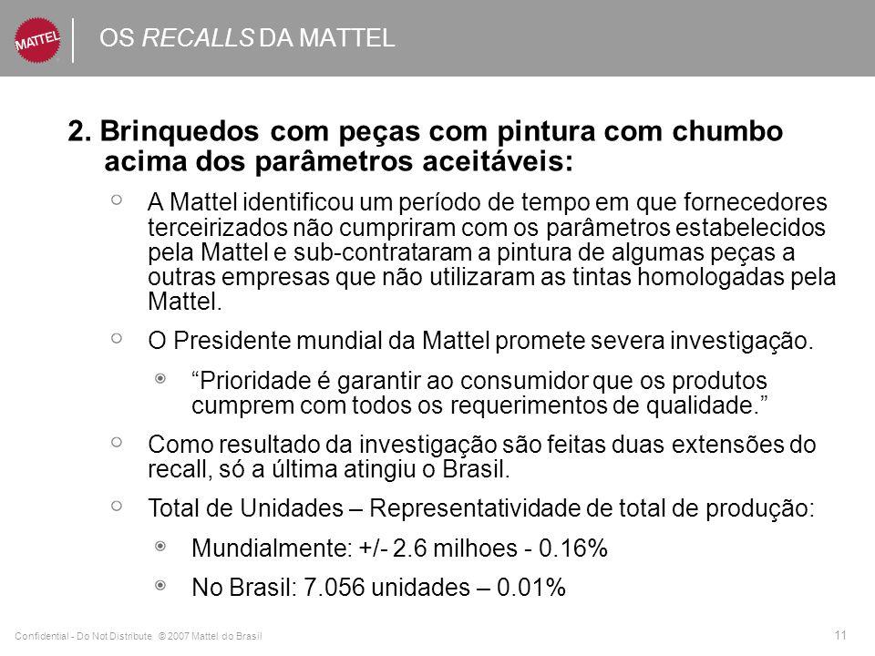 Confidential - Do Not Distribute © 2007 Mattel do Brasil 11 OS RECALLS DA MATTEL 2. Brinquedos com peças com pintura com chumbo acima dos parâmetros a