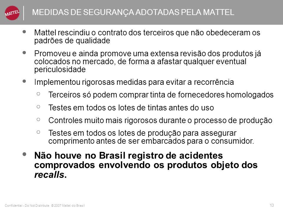 Confidential - Do Not Distribute © 2007 Mattel do Brasil 13 MEDIDAS DE SEGURANÇA ADOTADAS PELA MATTEL Mattel rescindiu o contrato dos terceiros que não obedeceram os padrões de qualidade Promoveu e ainda promove uma extensa revisão dos produtos já colocados no mercado, de forma a afastar qualquer eventual periculosidade Implementou rigorosas medidas para evitar a recorrência Terceiros só podem comprar tinta de fornecedores homologados Testes em todos os lotes de tintas antes do uso Controles muito mais rigorosos durante o processo de produção Testes em todos os lotes de produção para assegurar comprimento antes de ser embarcados para o consumidor.